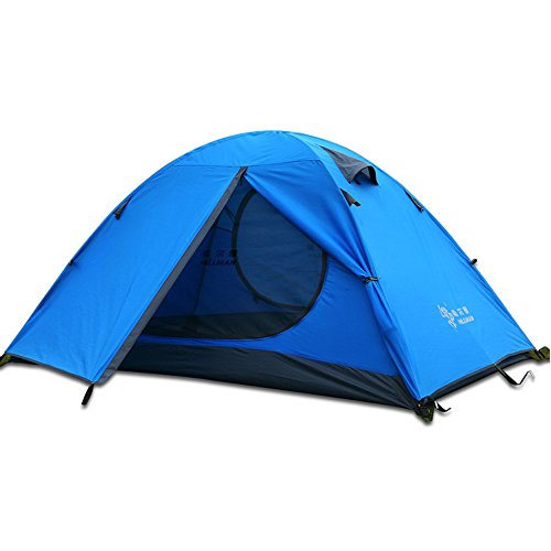 Hillman 3 Season 3-Person Double Layer Waterproof Dome Backpacking Tent Aluminum Rod for Camping Hiking Travel Climbing (Blue-3 Person)