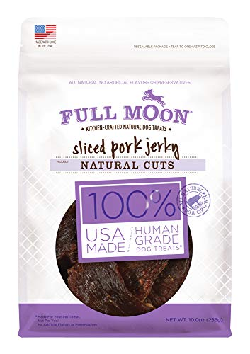 (Full Moon All Natural Human Grade Dog Treats, Natural Cut Jerky, Sliced Pork , 10 Ounce)