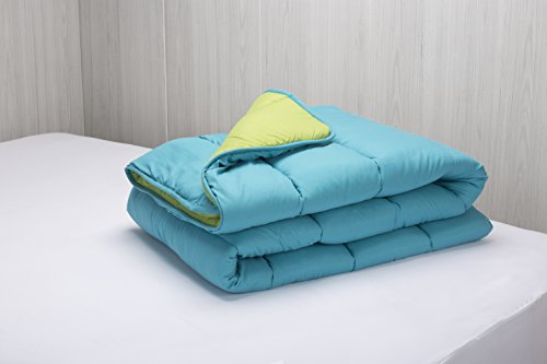 Pikolin Home – Rembourrage couette/ édredon en fibre, toucher plume, automne-hiver, 300g/m2, 180x220cm, lit 100/105, couleur turquoise