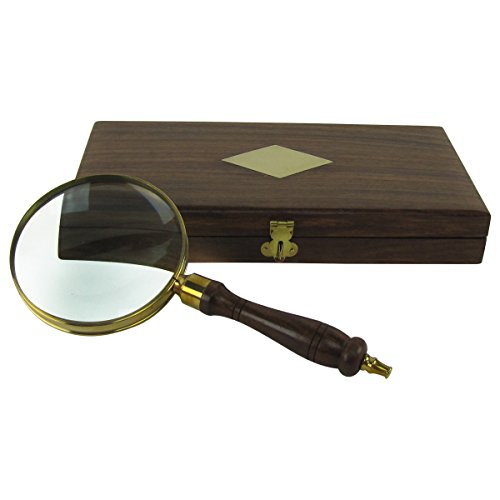 Mbd Antique Brass&Wood Turned Hand Lens Magnifying Glass w/Desktop Box 5X Magnifier ()
