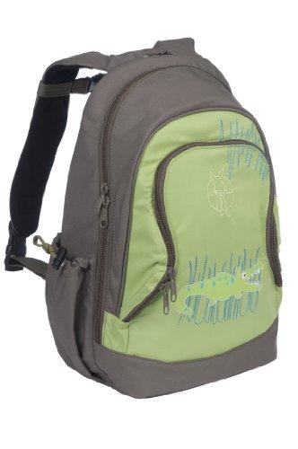 Lassig Kids Cute Backpack Big Pre-School Kindergarten Bag Kids Bag with Chest Strap, Name Badge and Drink Bottle Holder, Crocodile Granny Green ()