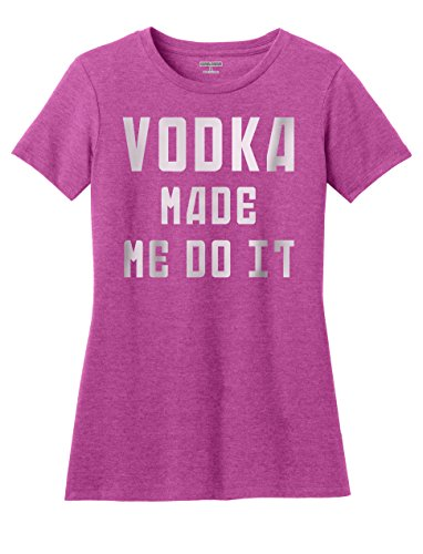 KAMAL OHAVA Women's Vodka Made Me Do It Funny T-Shirt, XXL, Pink (Raspberry Vodka)
