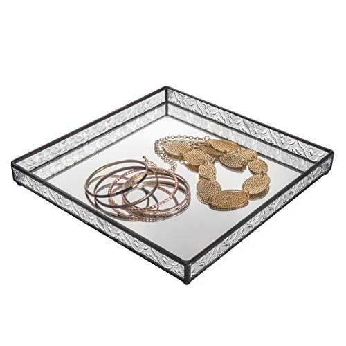 J Devlin Tra 102 Glass Vanity Tray Mirrored Decorative Jewelry Display Dresser Home Decor ()