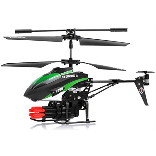 SkyCo New V398 3.5 Channel Missile Shooting RC Helicopter RTF with Six Missiles rapid fire (Colors May vary)