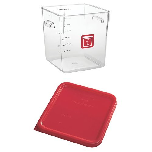 Rubbermaid Commercial Square Plastic Food Storage Container, Red, 8 Quart, with Lid