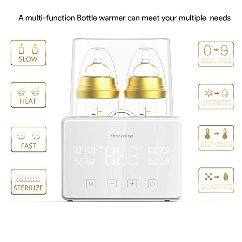 Bottle Warmer, Fast-Heating Baby Bottle Warmer and Bottle Sterilizer 6 in 1 Function with Touch Panel LCD Fahrenheit Temperature Real-time Display, Accurate Temperature Control