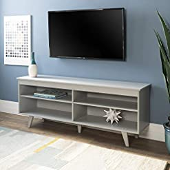 Living Room Walker Edison Rohde Contemporary 4 Cubby TV Stand for TVs up to 65 Inches, 58 Inch, Grey modern tv stands