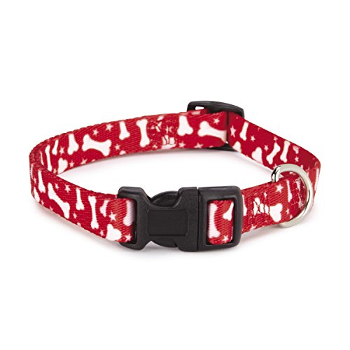 "Casual Canine Nylon Pooch Patterns Dog Collar, Fits Necks 14"" to 20"", Red Bone"