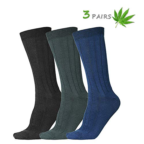 (Natuhemp Men's Dress Socks - Hemp & Organic Cotton Antibacterial Dress Crew Socks, 3 Pack with Gift Box)
