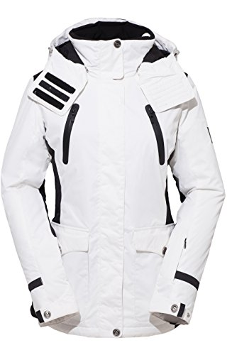 (HSW Women Jacket Winter Girl Coat Outdoor Sport Dress Ski Jacket White)