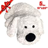 Weighted Stuffed Animals 5lbs Sensory Pad 20''x15'', Unscented Microwavable Stuffed Animals Comfort Cramp, Gifts for Kids and Adult, Weighted Lap Pad for Kids, Hot & Cold Removable Pouch Puppy