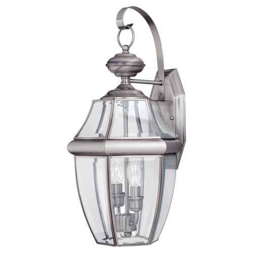 Sea Gull Lighting 8039-965 2-Light Lancaster Medium Outdoor Wall Lantern, Clear Beveled Glass and Antique Brushed Nickel (2 Light Beveled Glass)