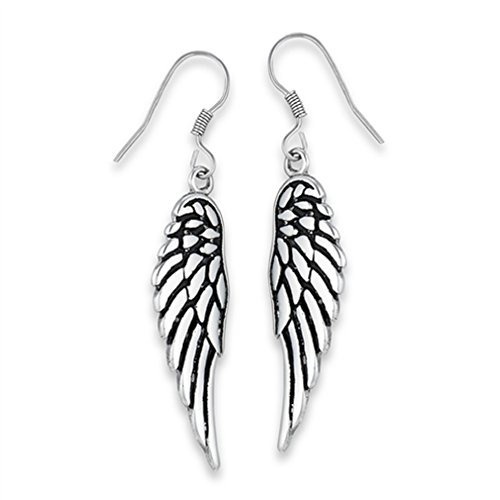 316L Stainless Steel Angel Wing Dangle French Wire Earrings ()