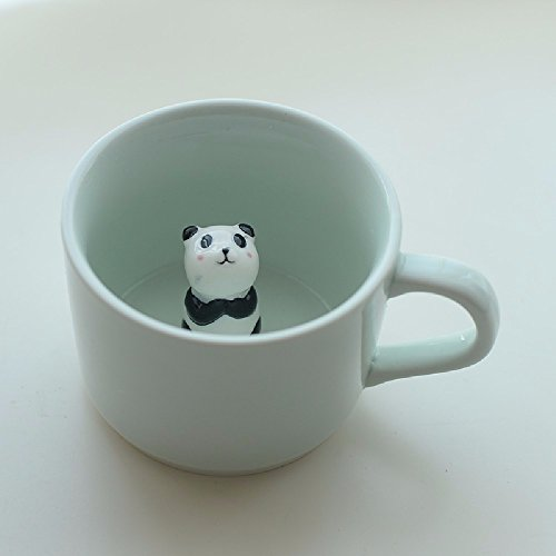 SSBY Coffee cup bottom animals 3D ceramic cup Cute cartoon creative mug Celadon water cup With cover and spoon,Panda