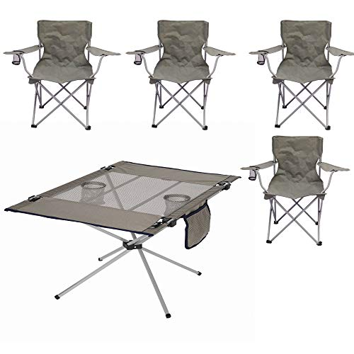 Ozark Trail Classic Folding Camp Chairs, Set of 4 Bundle with Ozark Trail High-Tension Travel Table