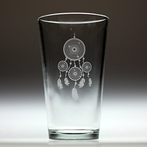 Dream Catcher Engraved Glass with Four Hoops and Feathers - Dream Catcher Shot Glass