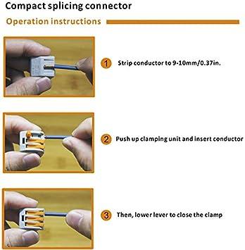 Maidodo 10 piezas 222-412 conectores de bloque de terminales bloque de terminales universal a presi/ón con soporte de conector conectores de cable compactos