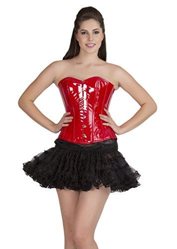 ビジョンハッチ尾Red PVC Leather Goth Steampunk Costume Waist Cincher Bustier Overbust Corset Top
