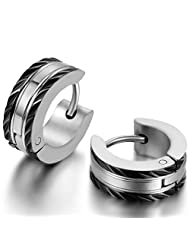 JewelryWe Pair of Huggie Hinged Hoop Earrings for Men Women Black Silver Two-tone Hypoallergenic 2pcs(Colors Available) Christmas Decorations Ornaments Gifts
