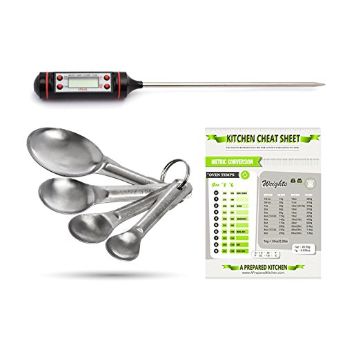 Cooking Thermometer - Instant Read - For All Food, BBQ, Grill, Candy - Also Includes Measuring Spoon Set and Cooking Chart by A Prepared Kitchen