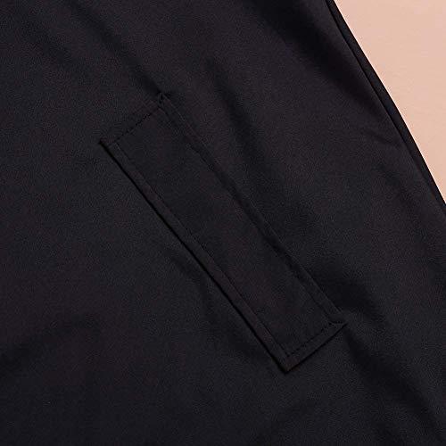 Vento Tasche Giovane Outwear Giacca Colore Single Puro Schwarz Donna Manica Con Moda Breasted Di Laterali Trench Invernali Lunga Cappuccio Mantello OxqIpPBwP4