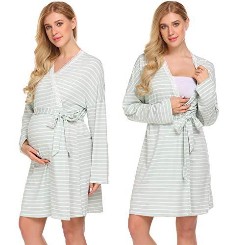 Ekouaer Womens Maternity Pregnancy Labor Robe Delivery Nursing Nightgowns Hospital Breastfeeding Gown S-XXL