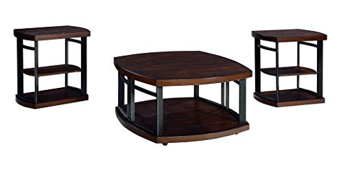 Ensembles Veneer Furniture (Ashley Furniture Signature Design - Challiman Occasional Table Set - 1 Coffee Table and 2 End Tables - Set of 3 - Rustic Brown)