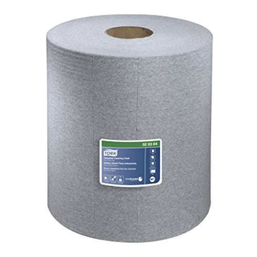 Tork 520304 Industrial Giant Roll Single-Ply Cleaning Cloth, Gray by Tork
