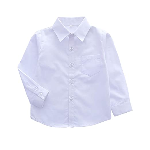 fd7a6bce Boys' Long Sleeve Button Down Oxford Shirt, Little Big Kids Dress Tops White  Tag