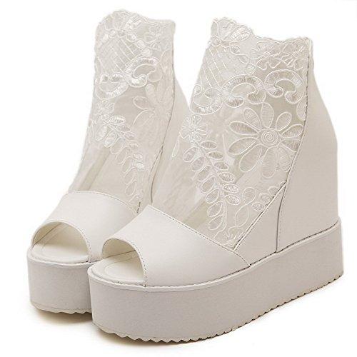 Amoonyfashion Kvinnor Peep-toe Kick-häl Mjukt Material Fast Blixtlås Sandaler Vita