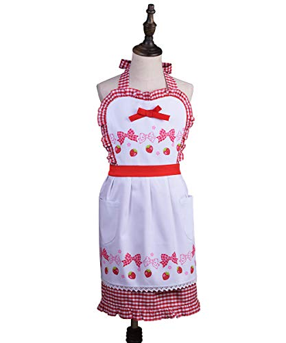Deluxe Vintage Frilly Apron Strawberry and Lovely Bow Print Kitchen Bib Apron with Pockets, Adjustable Neck for Cooking Baking Gardening, Red White (6 to 10 Years Old)