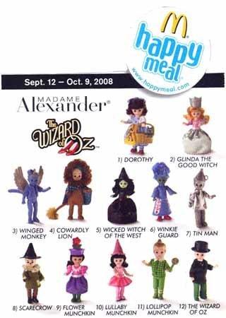 2008 Mcdonalds Madame Alexander Wizard of Oz Dolls Set Of 12 -