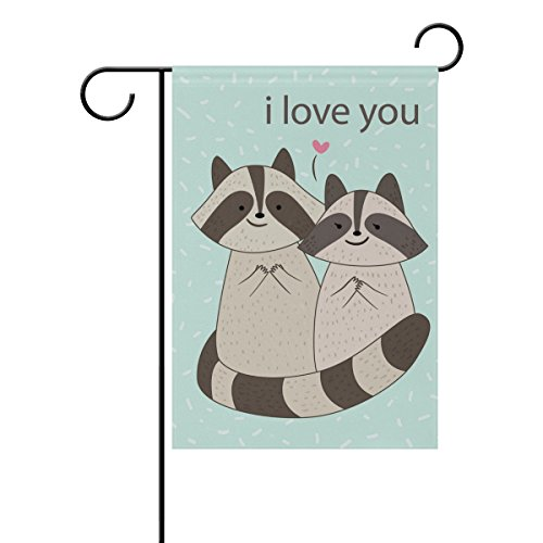 """LEISISI Lovely Raccoons Garden flag 28""""X40"""" Two Sided Yard D"""