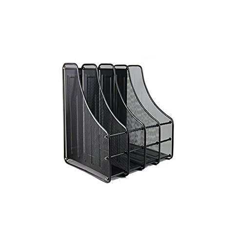 Heavy Duty 4 Compartment Black Metal Mesh Office Desktop Document & File Organizer Rack / Magazine Holder