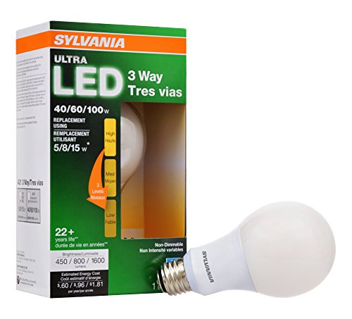Sylvania 74021 2700K 40/60/100 Watt Equivalent Medium Base A21 Ultra 3-Way LED Light Bulb, Soft White