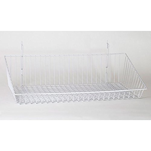 Case of 5 New White Sloping Basket 24''w x 12''d x 6''h Back x 2''h Front