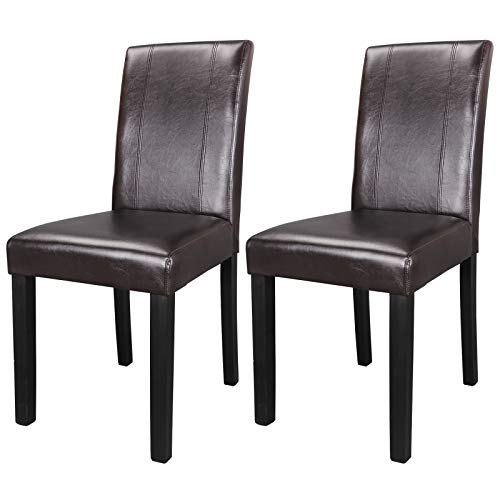 Urban Style Leather Padded Dining Parson Chairs Solid Wood Legs Chair, Brown, Set of 2 (2pcs) by Nova Microdermabrasion