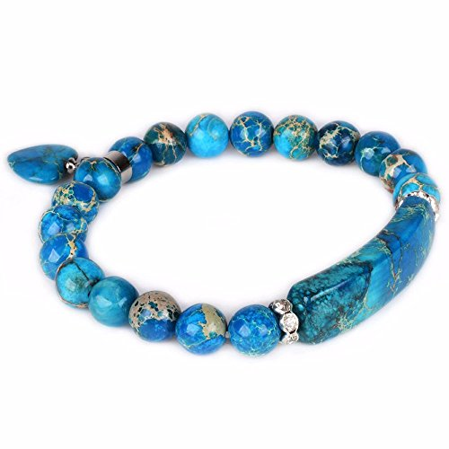 Dyed Blue Sea Sediment Jasper Gem Semi Precious Gemstone Love Heart Charm Stretch Bracelet