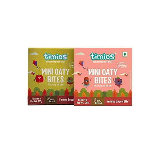 Timios Mini Oaty Bites   Mix Flavours   Healthy Snack for Kids   Natural Energy Food Product for Toddlers and Preschoolers   Nutritious and Ready to Eat for Children 18+ Months Pack of 2
