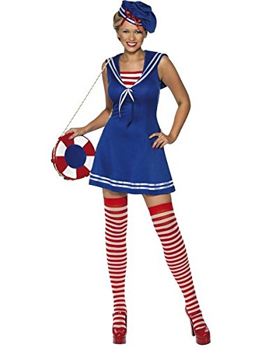 Smiffy's Sailor Cutie Costume Blue, Dress, Beret And Stockings - Blue, Small