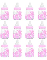 TOYANDONA 12Pcs Baby Shower Favor Boxes Mini Baby Bottles Baptism Candy Boxes Party Gift Bag Holiday Decor for Kid Newborn Infant Shower Party Favors Birthday Party Pink