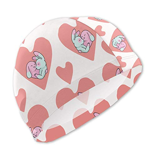 Onlyouder Cute Bunny Hug Hearts Swim Caps for Kids Boys and Girls Baby Bathing Caps for Long and Short Hair