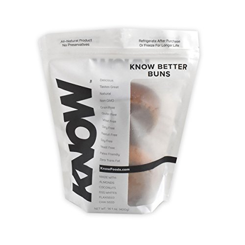 KNOW Foods Gluten Free Buns, Low Carb, Paleo + Keto Friendly - 4 count (Frozen)