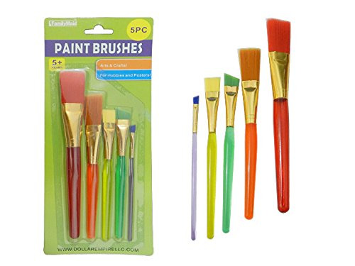5 PC Artist Paintbrushes Transparent color handles Sizes: 7.5'' L - 5.25'' L , Case of 144 by DollarItemDirect