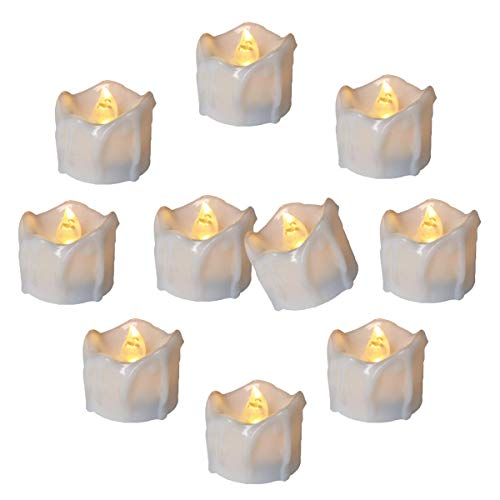Cozeyat 12pcs Led Tea Lights Warm White CR2032 Battery Operated Flameless Tea Lights Candles Flickering Long Lasting for Halloween Thanksgiving Xmas Wedding Party Birthday Table Decorations ()