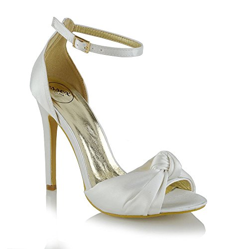 Essex Glam Womens High Heel Ankle Strap Bridal Ivory Satin Peep Toe Shoes 7 B(M) (Ankle Strap Peep Toe Heels)