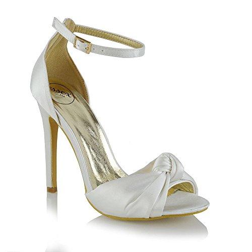 Nuziale Caviglia Satinato Alto Sandalo Avorio Sintetico Donna Toe Peep alla Cinturino Tacco GLAM ESSEX HqvAwZSq