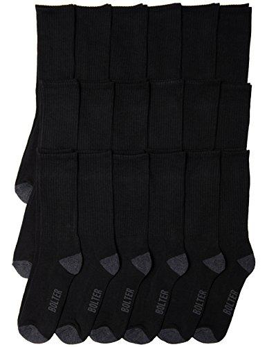 18 Pack Bolter Men's Crew Socks (8-12, Black)