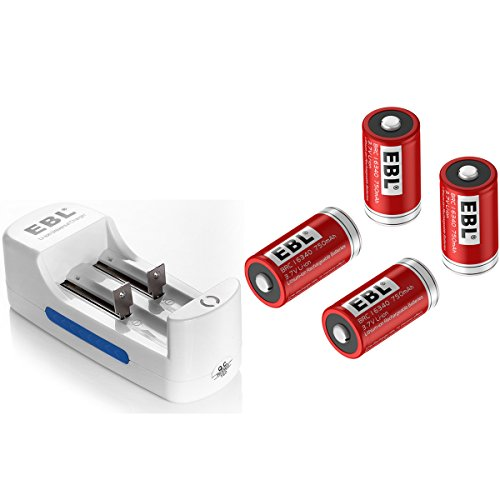 EBL Li-ion Universal Battery Charger with 4 Pack 3.7V 750mAh 16340 RCR123A Lithium-ion Rechargeable Batteries