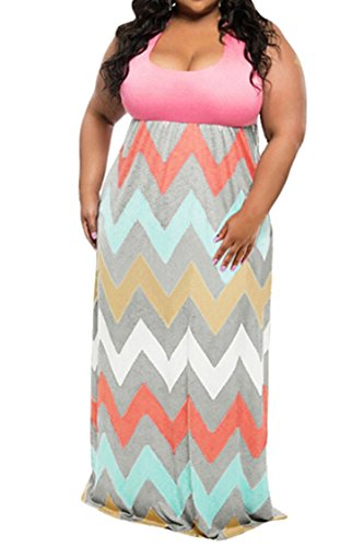 Linsery-Womens-Plus-Size-Scoop-Neck-Tank-Top-Chevron-Zig-Zag-Stripe-Maxi-Dress